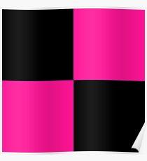 black deeppink checkered Poster