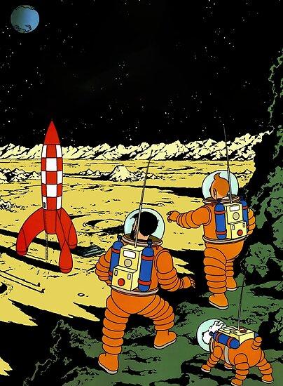 «Camiseta de la luna del cohete de Tintín» de simchazon