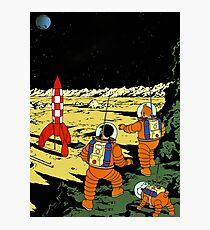 Tintin rocket moon tshirt Photographic Print