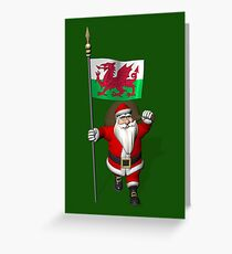 Santa Claus With Flag Of Wales Greeting Card