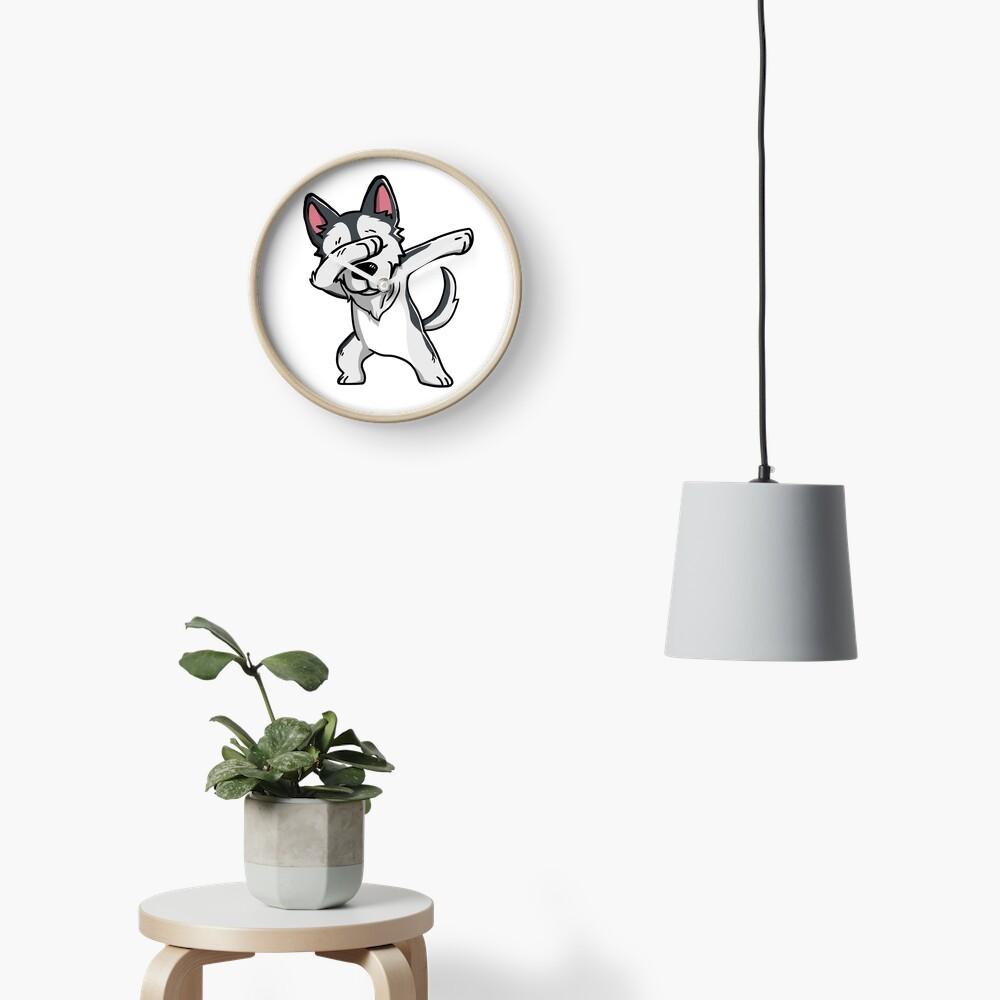 Dabbing Husky Funny Clock