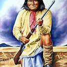 Geronimo, apache, american native indian portrait painting by Star Portraits Soutsos Art