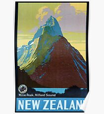 Vintage New Zealand Travel Poster Poster