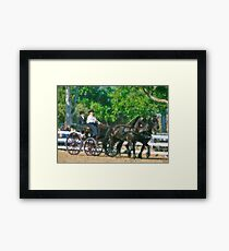 Impasto-stylized photo of  a woman driving an Andalusian horse-drawn carriage in dressage competition at Del Mar Horsepark in Del Mar, CA US. Framed Print