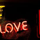 I love you neon light sign at night photograph romantic design by edwardolive