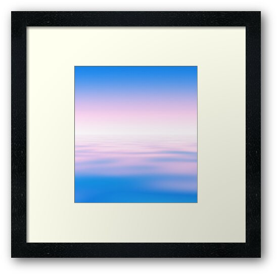 Abstract horizon water light pink and blue background by Igor Sokalski