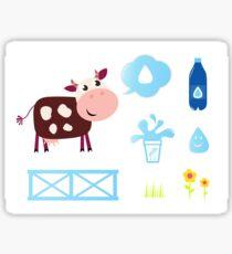 Cow design elements blue on white Sticker