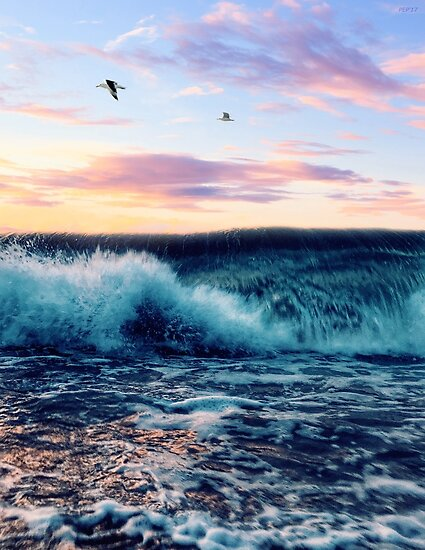 Waves Crashing At Sunset by Phil Perkins