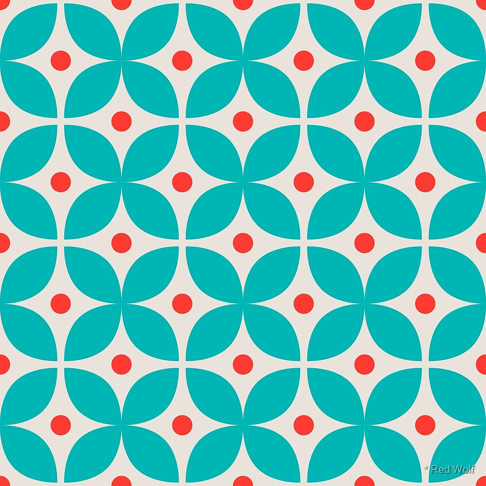 Geometric Pattern: Stylised Flower: Blue by * Red Wolf