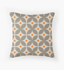 Geometric Pattern: Stylised Flower: Grey Throw Pillow