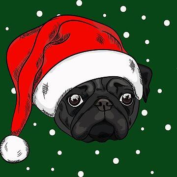 Cute black pug in christmas hat by TorriPhoto