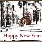 Chapel of the Woods in Snowy Glow Happy New Year Card by Wayne King