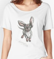 Dachshund running, pen and ink illustration. Sausage dog, doxie, weiner. Women's Relaxed Fit T-Shirt