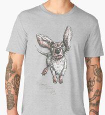 Dachshund running, pen and ink illustration. Sausage dog, doxie, weiner. Men's Premium T-Shirt