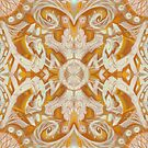 Curves and Lotuses, Abstract Pattern, Vanilla Golden Yellow by clipsocallipso