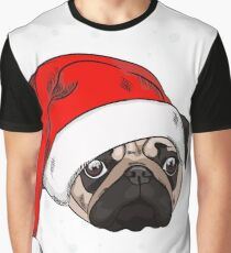 Cute pug in christmas hat Graphic T-Shirt