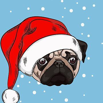 Cute pug in christmas hat by TorriPhoto
