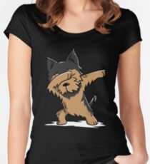 Dabbing Yorkshire Terrier Funny Yorkie Women's Fitted Scoop T-Shirt