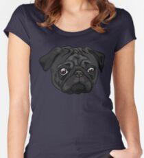 Cute black pug portrait Women's Fitted Scoop T-Shirt