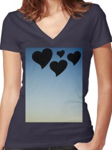 Love hearts shapes photograph romantic valentines day design Women's Fitted V-Neck T-Shirt