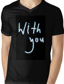 With you neon light sign at night photograph romantic design Mens V-Neck T-Shirt