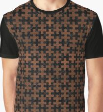 PUZZLE1 BLACK MARBLE & DULL BROWN LEATHER Graphic T-Shirt