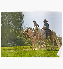Stylized photo of American Civil War reenactment soldiers on horseback overlooking battle field in Vista, CA. Poster