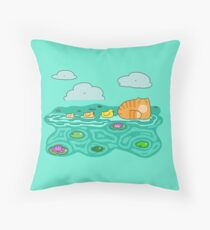 Mama Cat and her Ducklings Throw Pillow