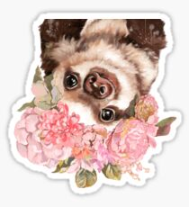 Baby Sloth with Flowers Crown Grey Sticker