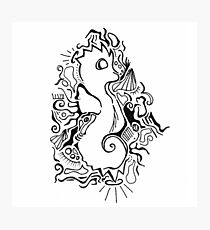 Seahorse Lineart Photographic Print