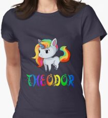 Theodor Unicorn Sticker Women's Fitted T-Shirt