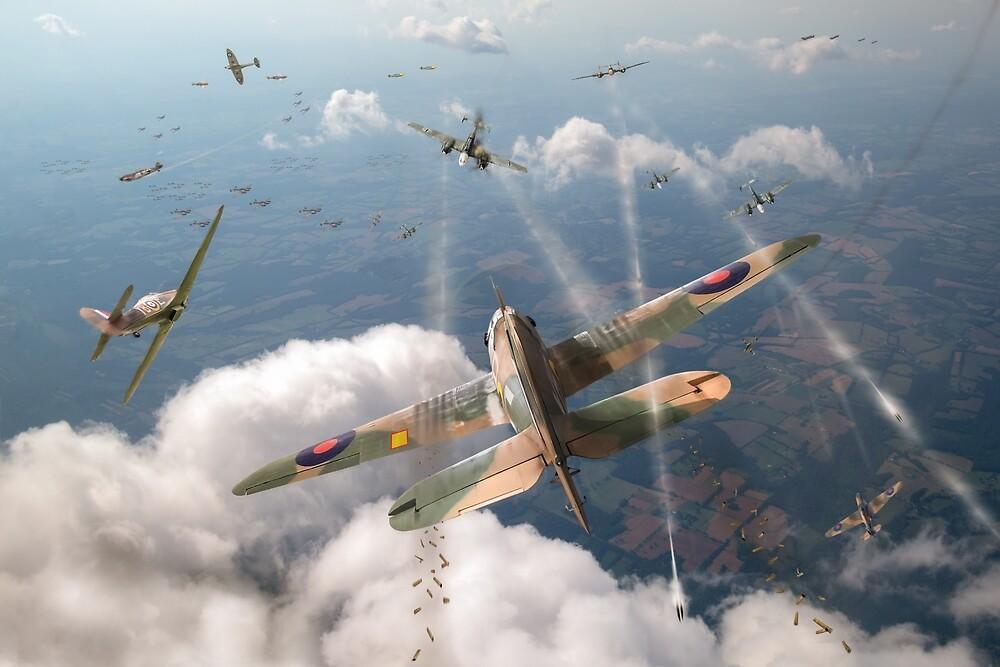 Headlong attack (Hurricanes over Dorset) by Gary Eason