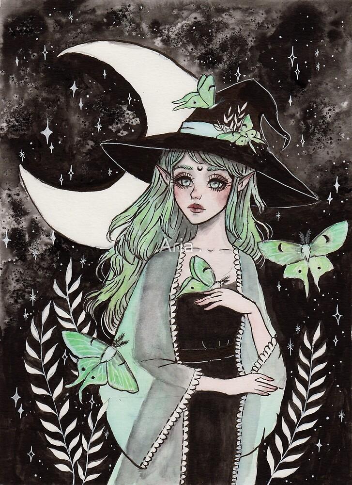 Luna moth witch by ARiAillustr