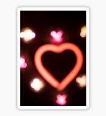 Neon love heart shape sign at night Sticker