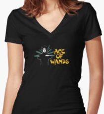 ACE OF WANDS - TAROT & LOGO Women's Fitted V-Neck T-Shirt