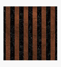 STRIPES1 BLACK MARBLE & DULL BROWN LEATHER Photographic Print