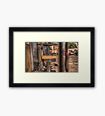 A stool at the coffee shop Framed Print