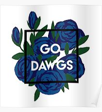 Go Dawgs Floral Poster