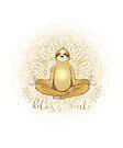 Meditating Golden Sloth Mandala Bliss Out by jitterfly