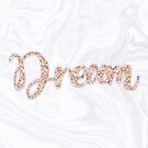 Dream Rose Gold Glitter on White Marble by julieerindesign