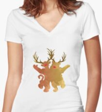 Christmas Friends Inspired Silhouette Women's Fitted V-Neck T-Shirt