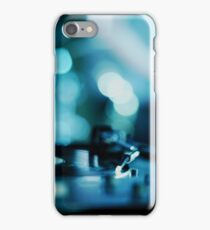 House music dj deejay turntable in nightclub party in Ibiza Spain blue digital photograph iPhone Case/Skin