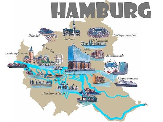 hamburg sehenswürdigkeiten karte Hamburg Highlights Sehenswürdigkeiten Karte