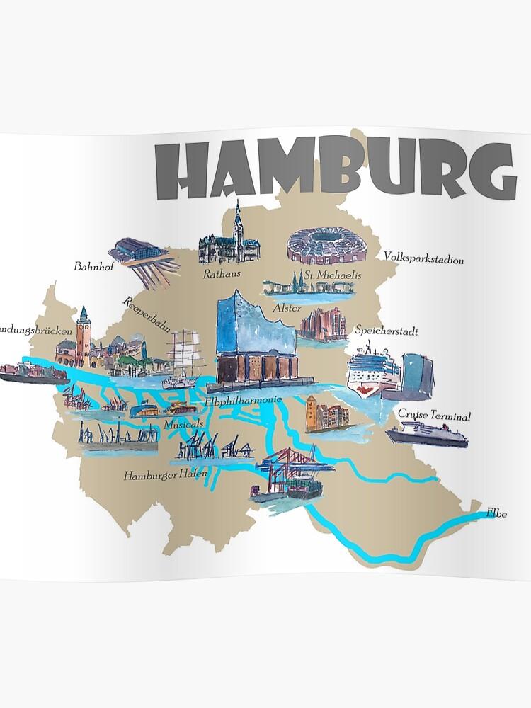 Hamburg Karte Sehenswurdigkeiten.Hamburg Highlights Sehenswurdigkeiten Karte Poster