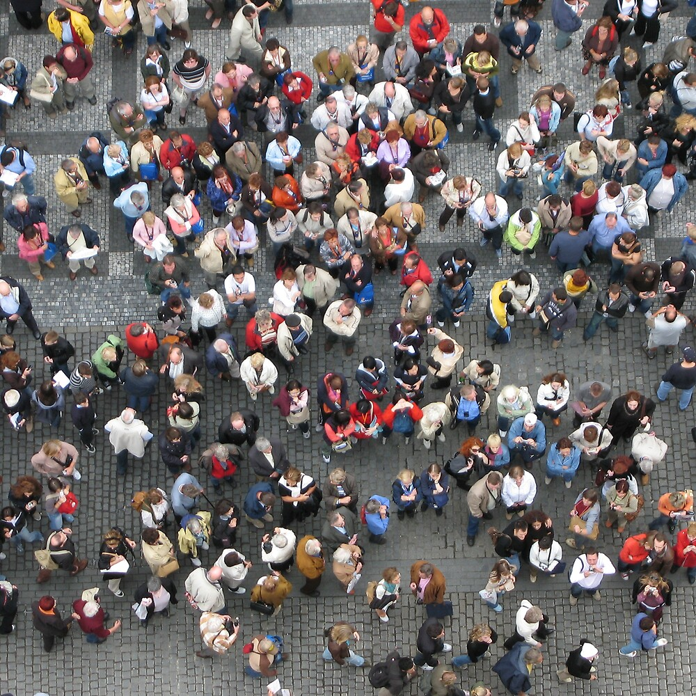 Crowd in Wenceslas Square, Prague by David Heckenberg