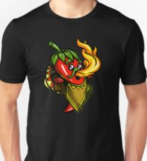 Ghost Chili Pepper Hot Breathing Fire Mexican   Unisex T-Shirt