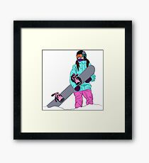 Snowboarder girl in mountain Framed Print