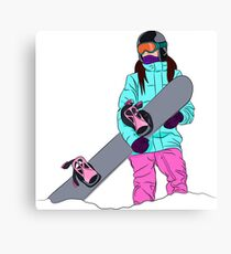 Snowboarder girl in mountain Canvas Print