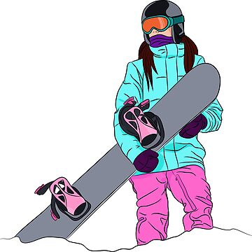 Snowboarder girl in mountain by TorriPhoto