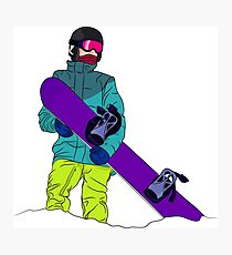 Snowboarder man with snowboard Photographic Print